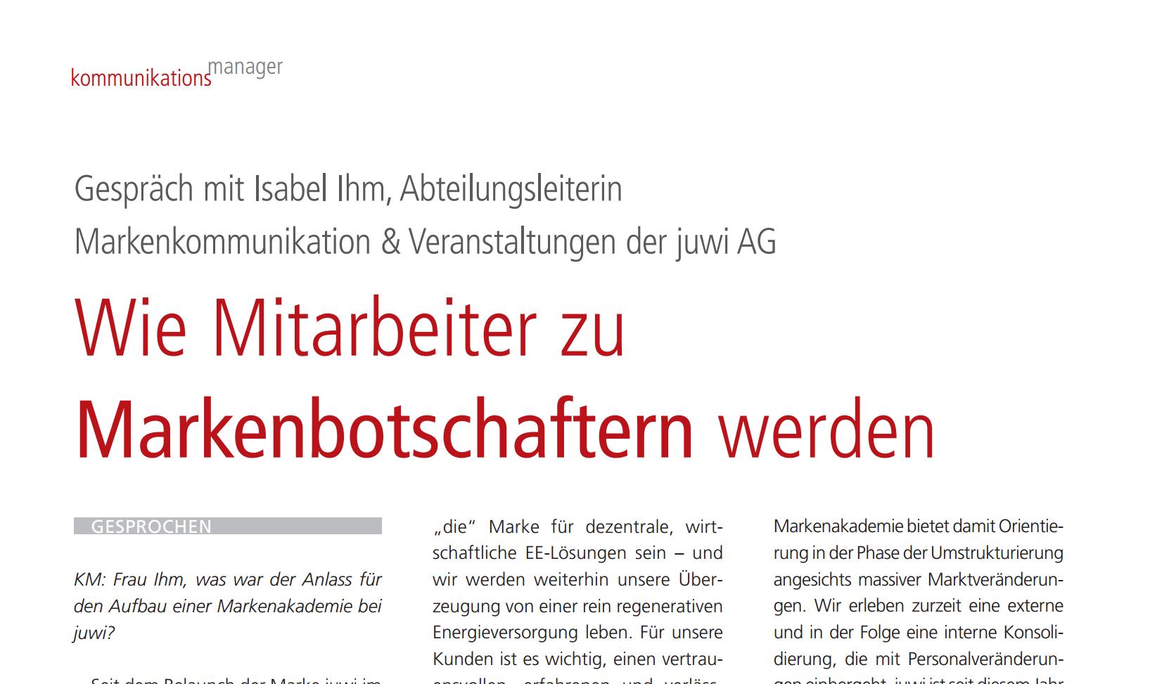 Screenshot der PDF Ansicht Artikel-kommunikationsmanager-03_2013_Isabel_Ihm