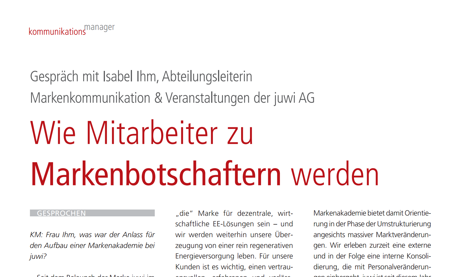 Screenshot der PDF Ansicht Artikel-kommunikationsmanager-03_2013_Isabel_Ihm
